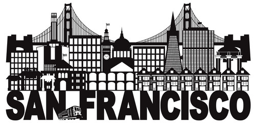 San Francisco Skyline and Text Black and White vector Illustration