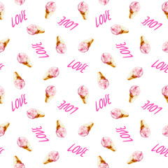 """Watercolor seamless pattern with pink lettering """"LOVE"""" and  ice cream cones, hand drawn style illustration for valentines day or invitations."""