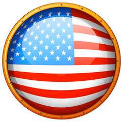 Flag of America in round badge