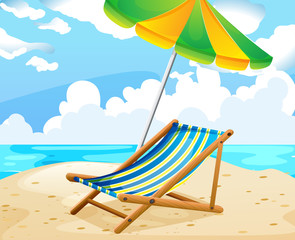 Ocean scene with seat and umbrella on the beach