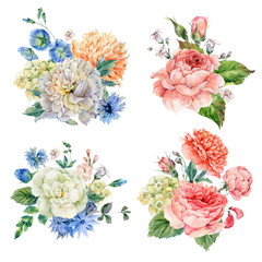 Set of vintage watercolor roses and peonies