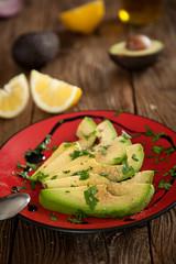 Fototapeten Vorspeise Vorspeisenteller mit Avocado