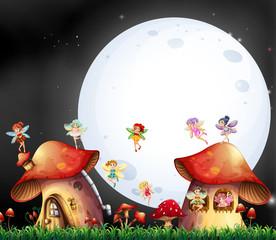 Cute fairies flying over mushroom house
