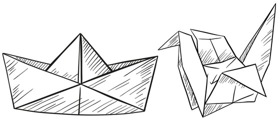 Paper origami for boat and bird