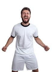 wütender Sportler mit geballten Fäusten und aufgerissenen Mund