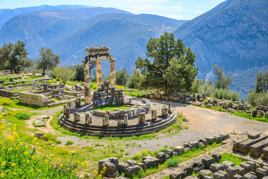 Delphi is a town on Mount Parnassus in the south of mainland Greece.