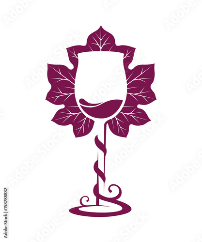 photo relating to Free Printable Wine Glass Stencils called Silhouette of wine gl with grape tendril wrapped about