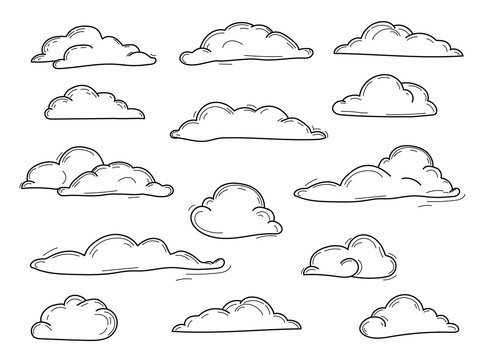 Doodle Collection of Hand Drawn Vector Clouds , vector set