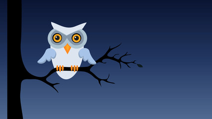 Owl sitting on tree branch at night. Retro cartoon style with flat design. Concept of nature and wisdom.