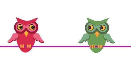 Two owls flirting. Concept of love and desire.