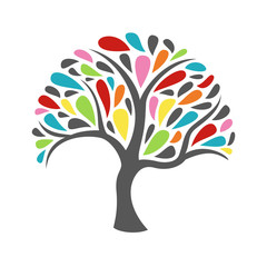 Ornament colorful tree icon on white background. Vector illustration.