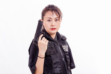 Chinese woman police officer with pistol