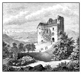 Habsburg castle (built 1020-1030) medieval fortress in Canton of Aargau - Switzerland, vintage engraving