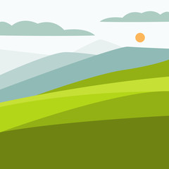 Vector illustration of color landscape with mountain peaks