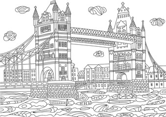 Coloring for adult with London.