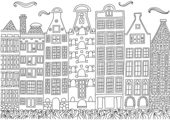 Coloring for adult with Amsterdam.