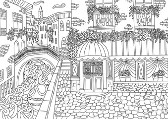 Coloring for adult with Venice.