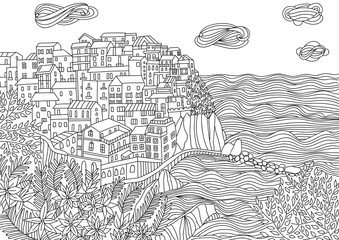 Coloring for adult with Monterosso al Mare.