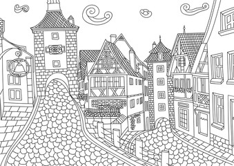 Coloring for adult with Rothenburg ob der Tauber.