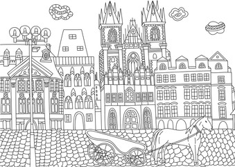Coloring for adult with Czech Republic.