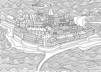 Coloring for adult with Saint Malo.