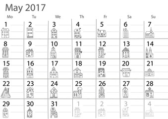 Calendar 2017 year.  May month.