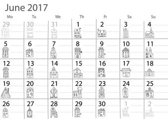 Calendar 2017 year.  June month.