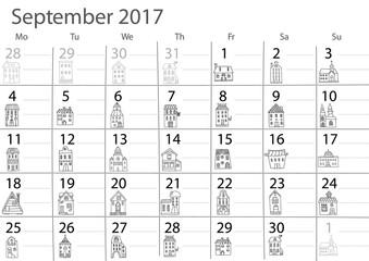 Calendar 2017 year.  September month.