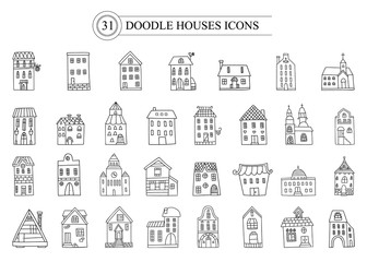 Set of vector doodle icon european houses