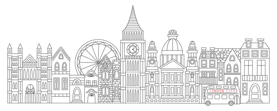 london drawn in line style