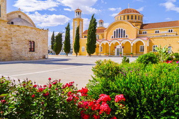 Garden Poster Cyprus Beautiful monastery with flowers in foreground on Cyprus island
