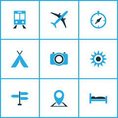 Journey Colorful Icons Set. Collection Of Sun, Bed, Map Pin And Other Elements. Also Includes Symbols Such As Photo, Sun, Bed.