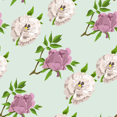 Hand drawn floral collection seamless pattern with peony flowers. Sketch style.