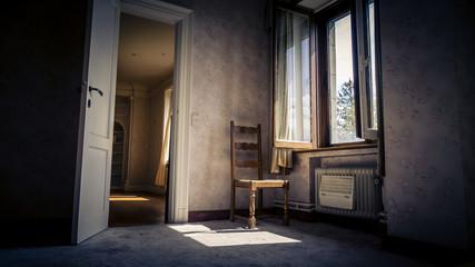 Urbex Chateau Wolfenstein Stuhl am Fenster