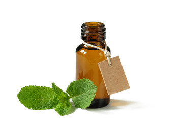 Mint essential oil in glass bottle isolated on white background.