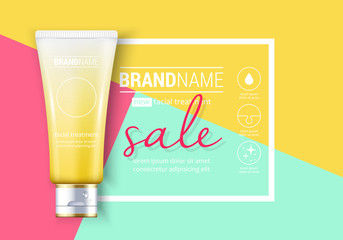 Facial treatment cream realistic vector illustration isolated on colorful background. Cosmetic add mock up template for sale poster design
