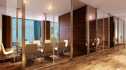 Glass meeting room. 3D rendering