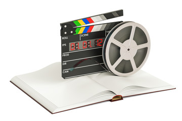 Screenplay Film concept. Book with film trips and clapperboard, 3D rendering
