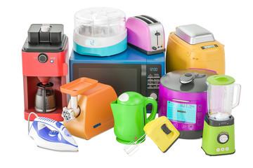 "Set of colored kitchen home appliances. Toaster, kettle, coffeemaker, microwave oven, mixer, blender, ""yogurt maker"", multicooker, grinder, bread machine, 3D rendering"