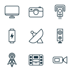 Device Icons Set. Collection Of Wireless Router, Speaker, Antenna And Other Elements. Also Includes Symbols Such As Video, Camcorder, Megaphone.