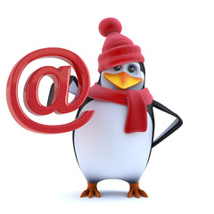 3d Funny cartoon penguin in winter woolens holds email address symbol