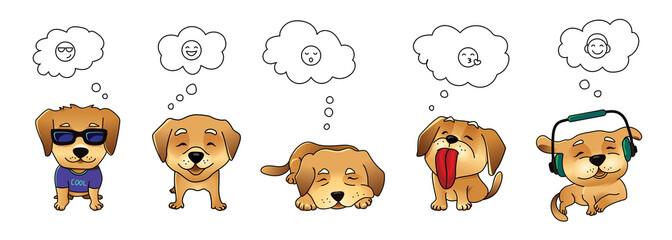 Set of vector dog emojis