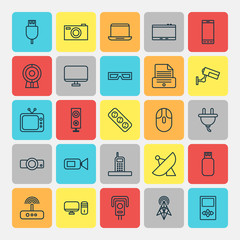 Device Icons Set. Collection Of Usb, Gadget, Universal Serial Bus And Other Elements. Also Includes Symbols Such As Tablet, Antenna, Projector.