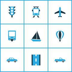 Transport Colorful Icons Set. Collection Of Stoplight, Plane, Auto And Other Elements. Also Includes Symbols Such As Ship, Aerostat, Sailing.