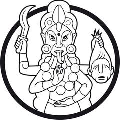 Dangerous goddess Kali illustration of black color