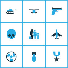 Army Colorful Icons Set. Collection Of Medal, Bomb, Skull And Other Elements. Also Includes Symbols Such As Gun, Destroyer, Humans.