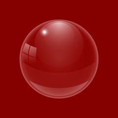 Beautiful glossy ball. A three-dimensional sphere for design. A transparent drop on a colored background. Vector illustration