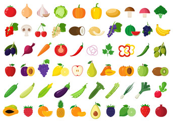 Vector fruits and vegetables icons Wall mural