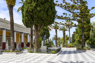 Achilleion palace in Gastouri on Corfu island, Greece. Achilleion was the summer palace of empress Elisabeth of Austria, also known as Sisi.