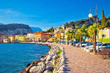 Colorful town of Torbole on Lago di Garda waterfront view Wall mural